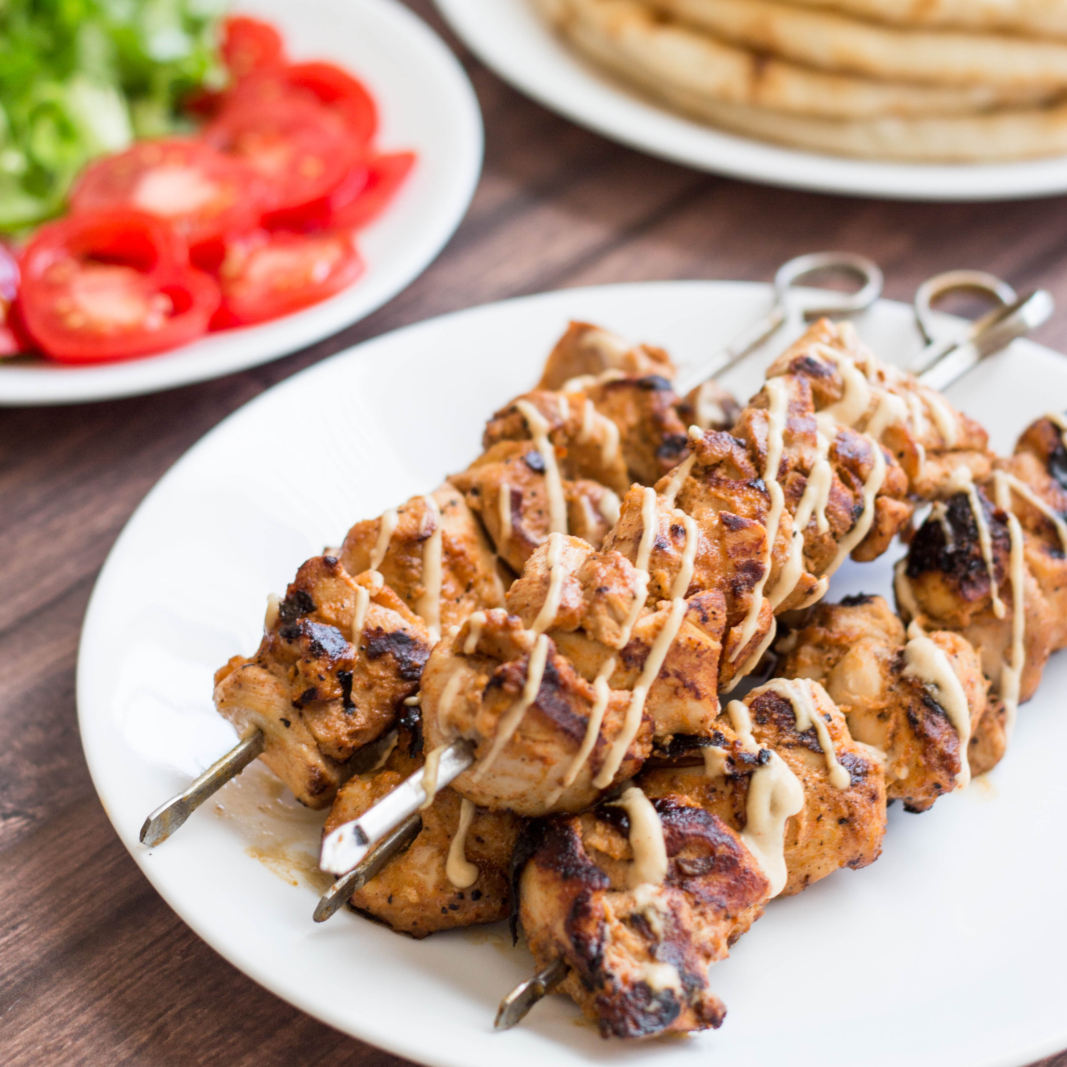 Marinated chicken skewers with pearl couscous salad (shipude..